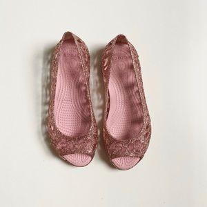 Girls Crocs Peep Toe Jelly Flats